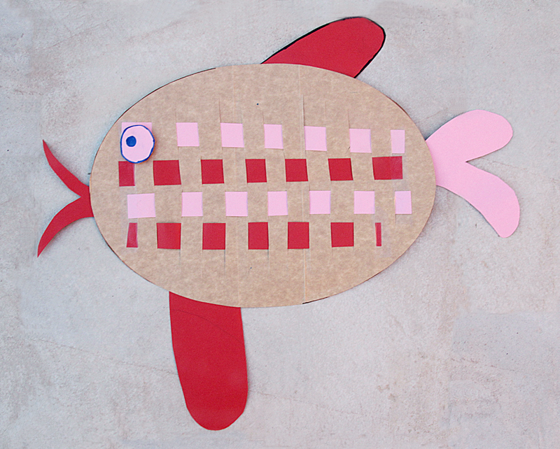 Kids Craft Woven Paper Fish