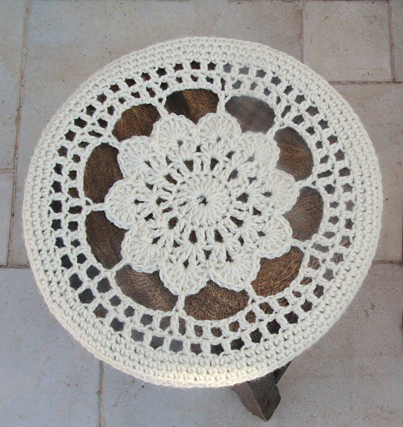 Crocheted Flower Doily Stool Cover pattern top view