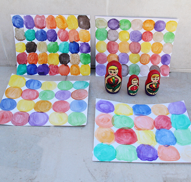 Water color circle paintings in two sized