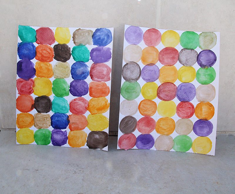 Watercolor circle paintings for kids