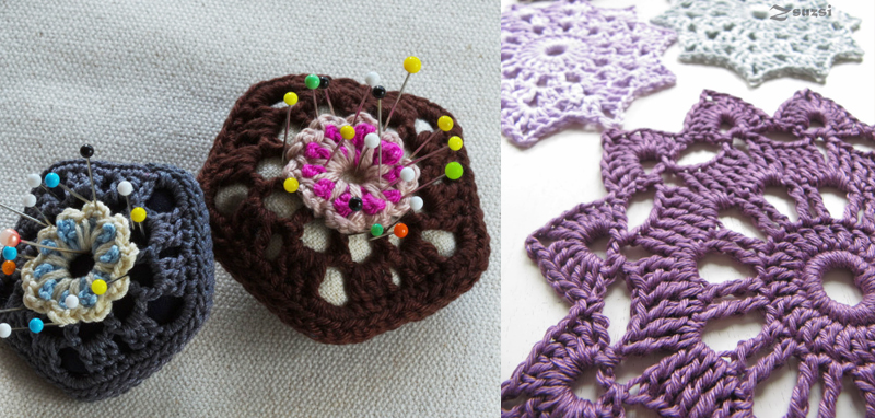 Crocheted pin cushion, star pattern