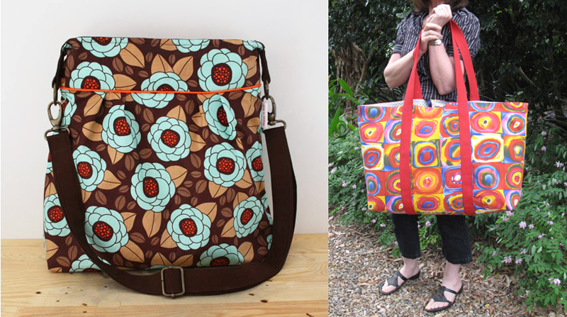 Two kinds of bags with bold patterns
