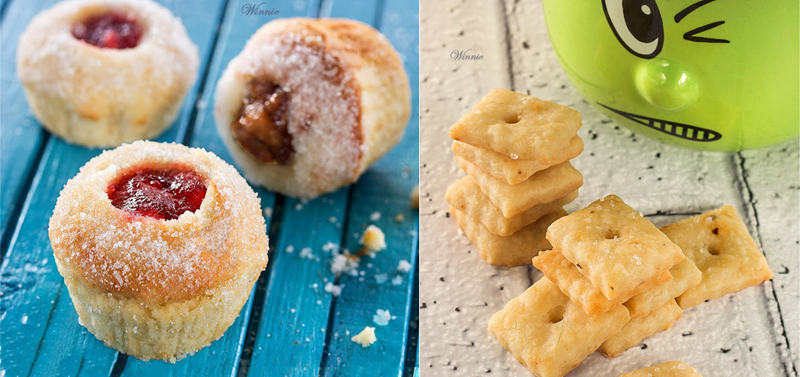 Jelly filled doughnut muffins,homemade cheez-it crackers
