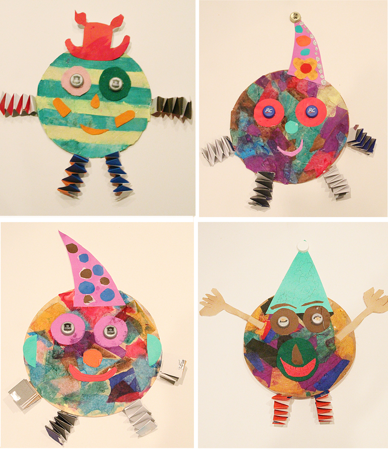Tissue Paper Collage Clowns With Accordian Legs