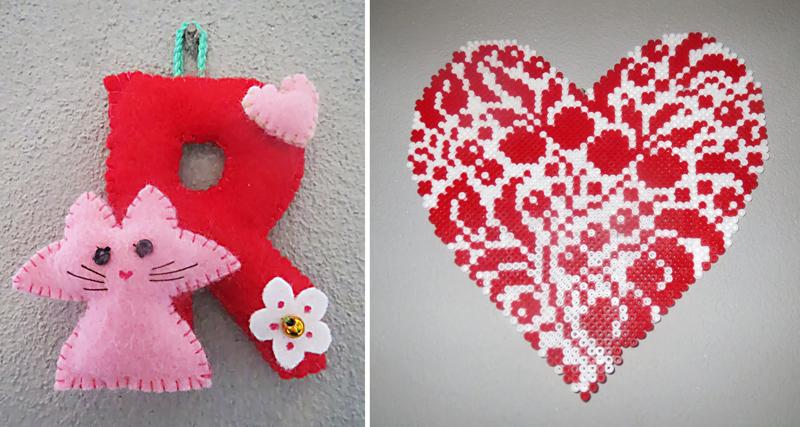 Felt letter,hama bead heart