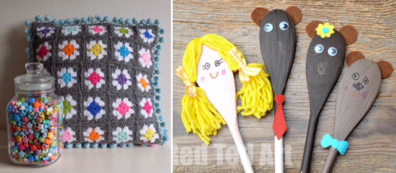 Granny pillow,wooden spoon puppets
