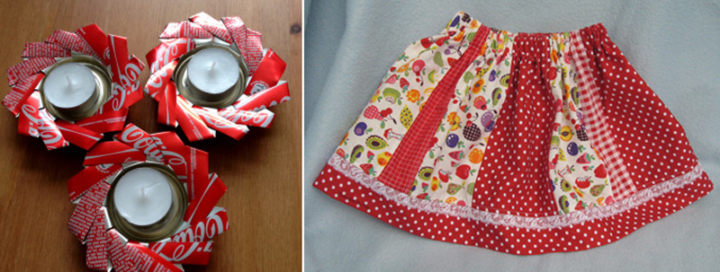 Soda can tea lights, paneled skirt for baby
