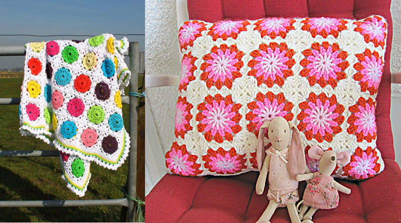 Flower in square blanket, round granny pillow