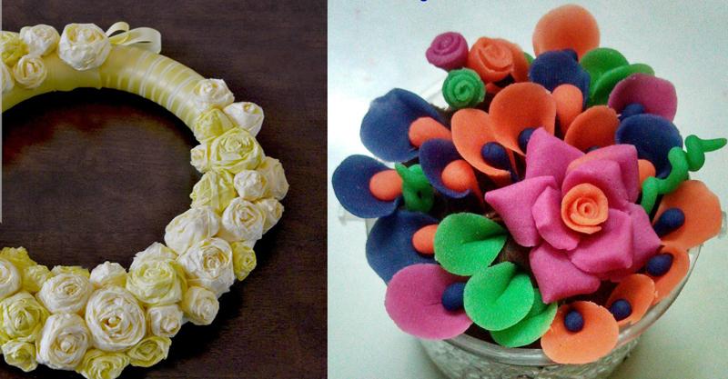 Tissue paper rosebuds,dough flowers