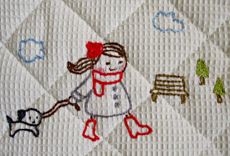 Embroidery on oven mit