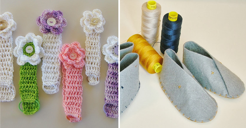 Crocheted baby headbands,felt baby shoes
