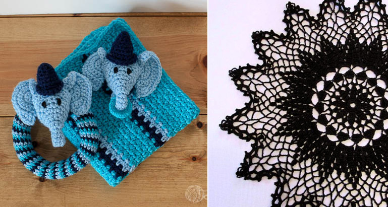 Crocheted baby blanket with elephant details