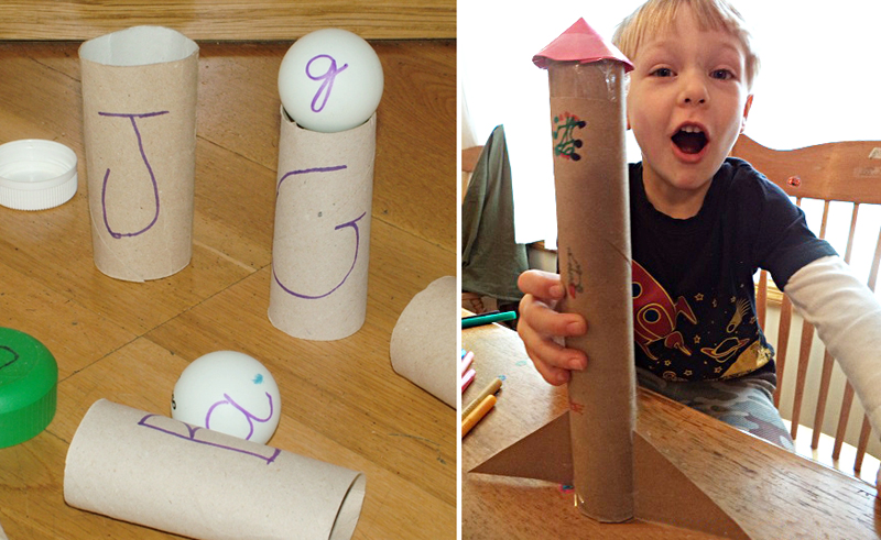 Learning big and little letters with tp tube,paper towel tube rocket