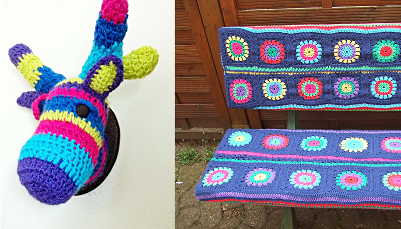 Crocheted deer head, crocheted granny bench cover