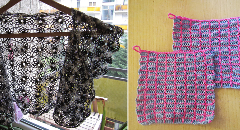 Crocheted bolero,crocheted plaid potholders