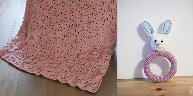 Crocheted pink squares blanket,bunny rattle pattern