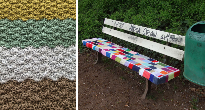 Crocheted park bench cover,star stitch blanket