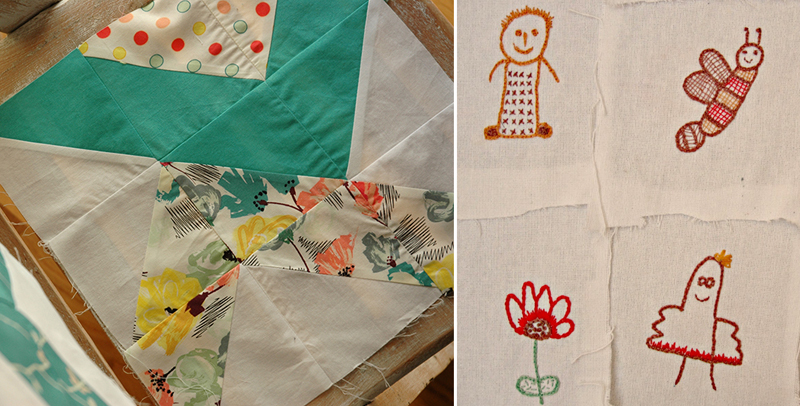 Embroidery from child's drawings,quilt block