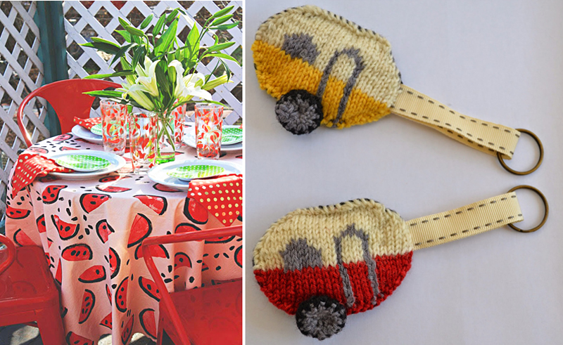 Stamped tablecloth,knitted camper key chains