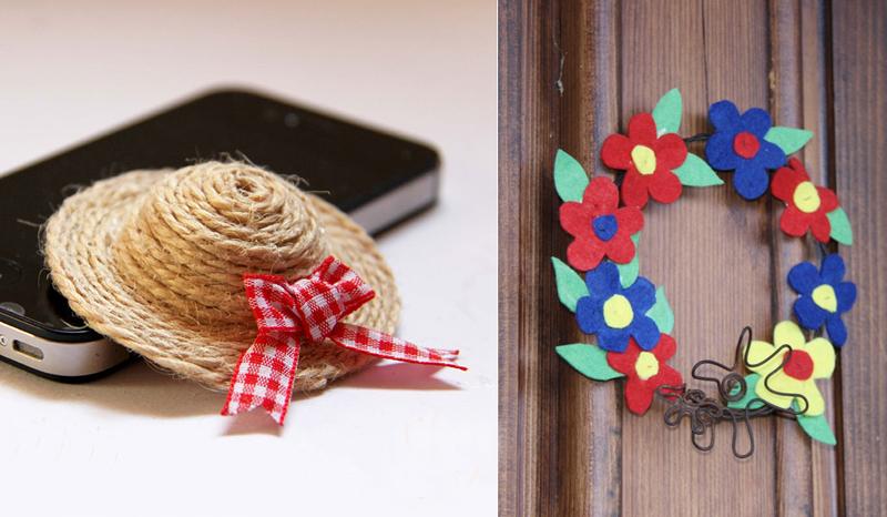 Mini straw hat DIY, simple felt flower wreath