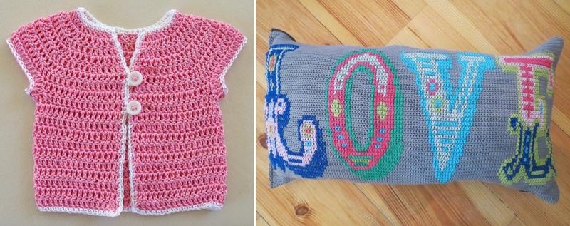 Pink baby sweater,cross stitch on crochet