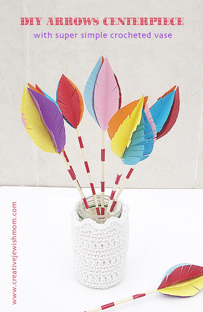 Crocheted Vase With DIY Arrows Summer Centerpiece
