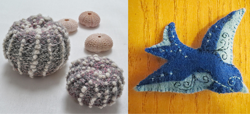 Knitted sea urchins,felt bird