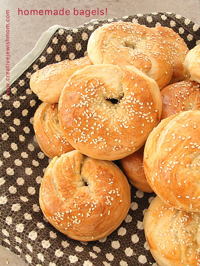 Homemade bagels baked