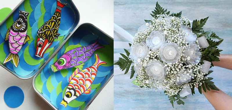Bridal bouquet from recycled plastic flowers,carp flags in a tin project