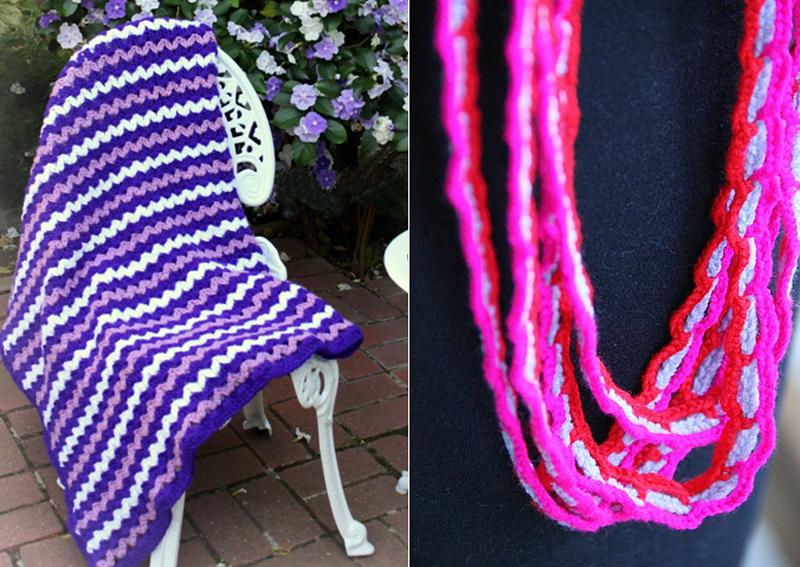 Crocheted long necklace,mini zig zag crocheted blanket