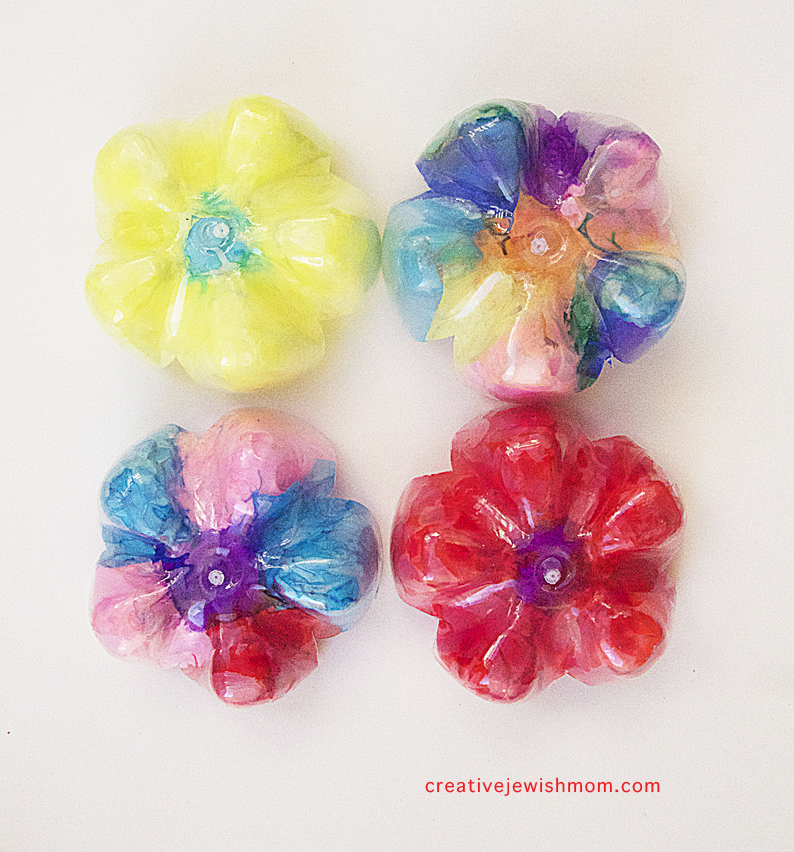 Recycled soda bottle flowers kid's craft