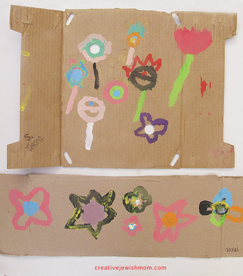 Flower paintings on cardboard