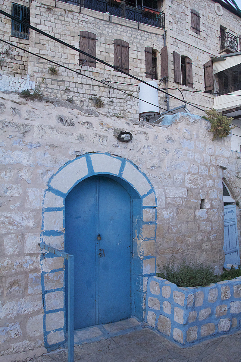 Blue Door with painted rocks,Old City Safed