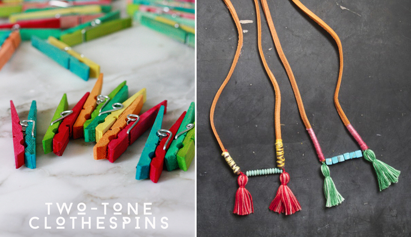 Tassel necklaces,painted clothespins