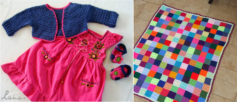 Baby crocheted bolero,baby patchwork crocheted blanket