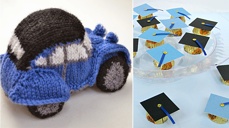 Reese's cups graduation hat favors,knit vintage car