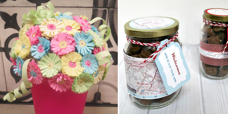 Quilled paper flowers,treat jars for guests