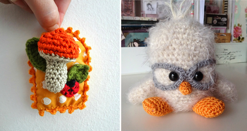 Crocheted mushroom wall hanging,crocheted owl