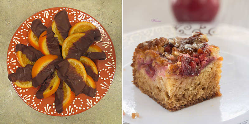 Plum cake,chocolate dipped oranges