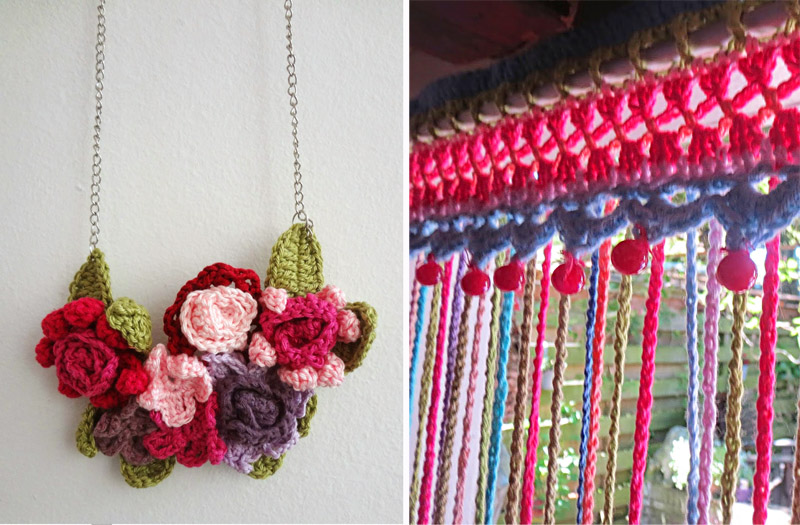 Crocheted fly curtain,crocheted flower necklace