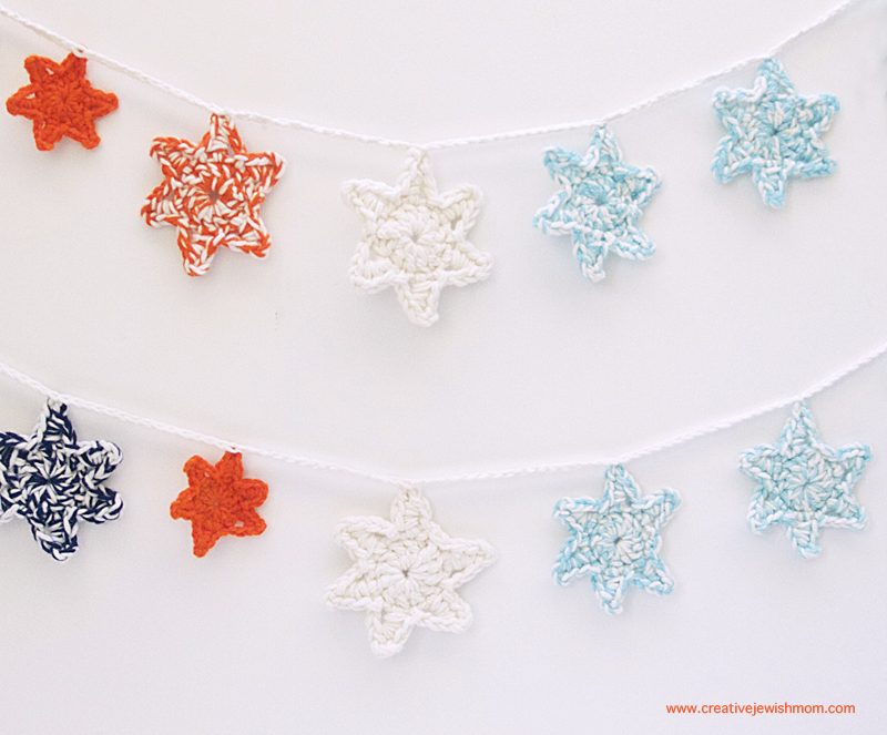 Starry night crocheted star garland
