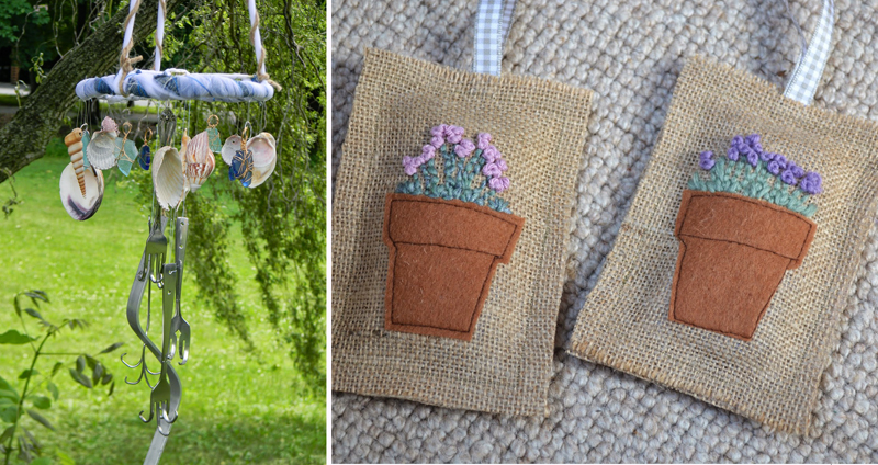Silverware windchime,lavender sachets with embroidery