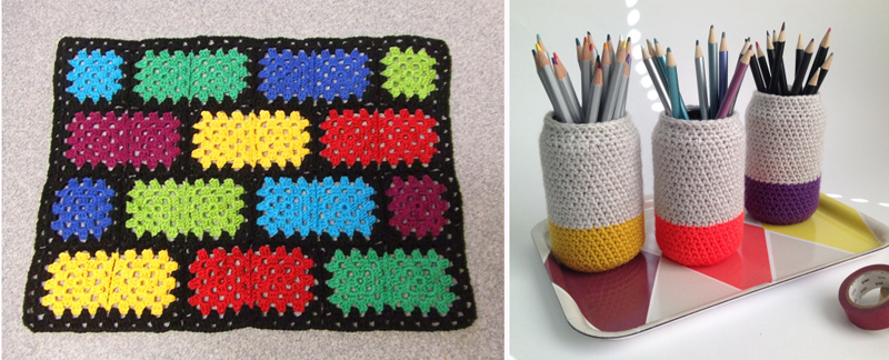 Color block granny square, dipped look pencil holder