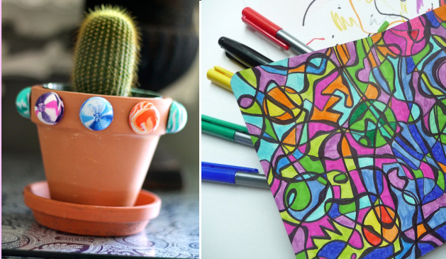 Superball decor for plant pot,scrapbook doodle