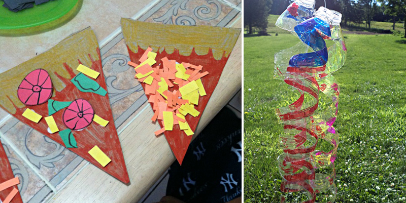 Play pizza craft,bottle sun catchers