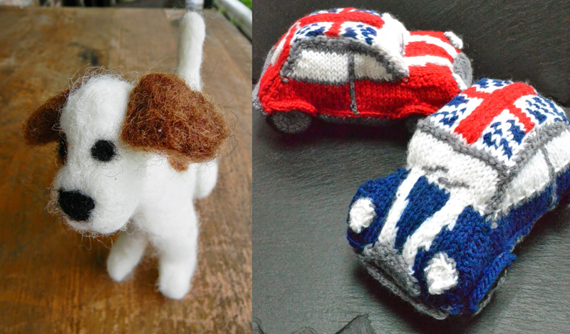 Felted dog,cooper mini knitted cars
