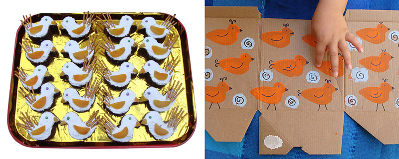 Shabbat shira bird shaped cakes,bird potato print