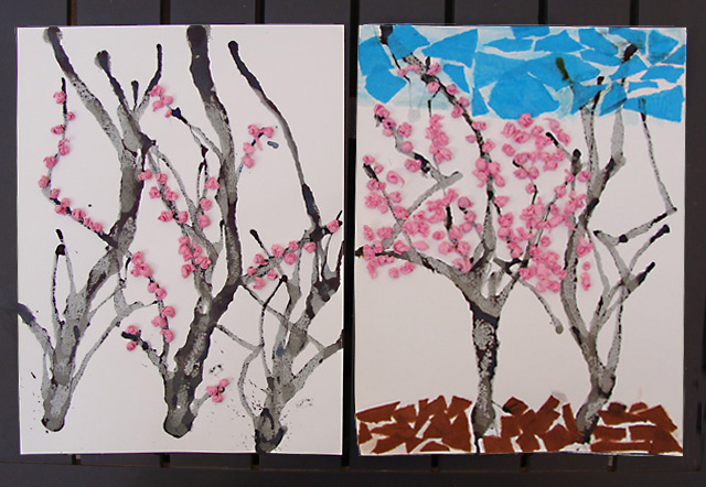 Tu B'shevat roundup, blowing paint cherry blossom craft