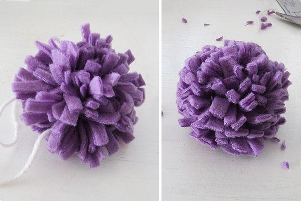 Fleece Pom Pom Flower Craft For Kids And Adults