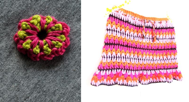 Crocheted skirt, little flower pattern